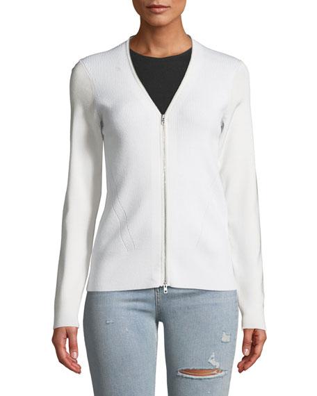 Vivienne Zip-Front Merino Cardigan Sweater
