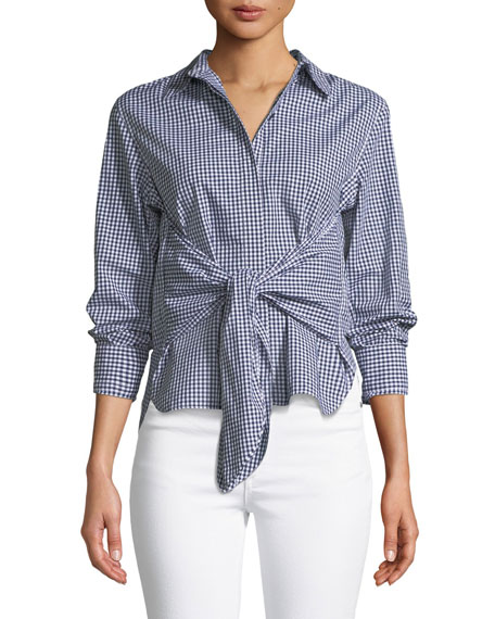 Wendy Tie-Front Gingham Shirt