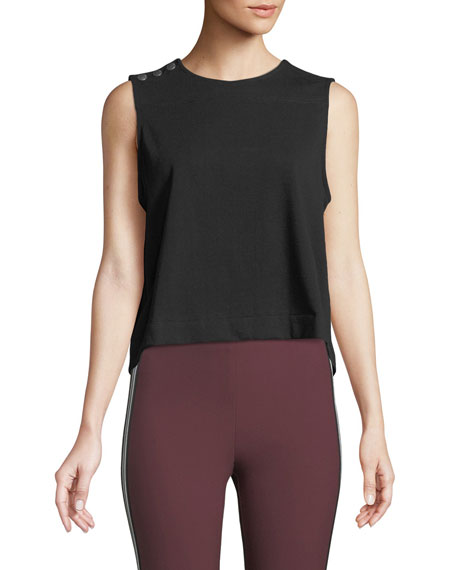 Brit Sleeveless Crewneck Crop Top W/ Snaps in Black
