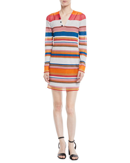 Rag & Bone Katie Striped Long-Sleeve Mini Dress