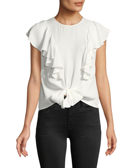 Knotted Flutter-Sleeve Button-Back Top