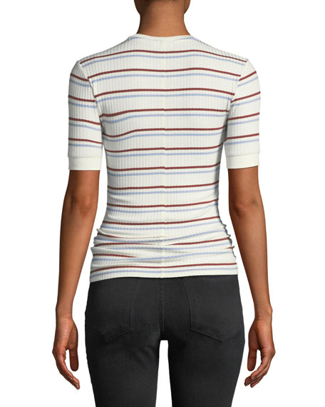 Striped Short-Sleeve Ribbed Tee