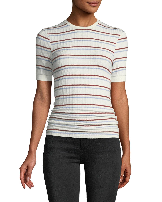 f21ff551b94fc FRAME Striped Short-Sleeve Ribbed Tee