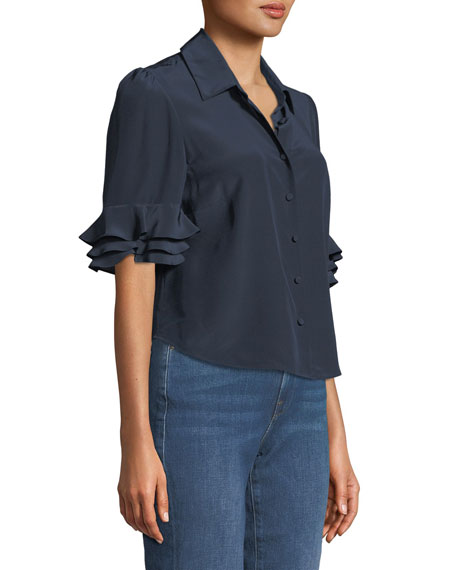 Silk Flutter-Sleeve Button-Front Top