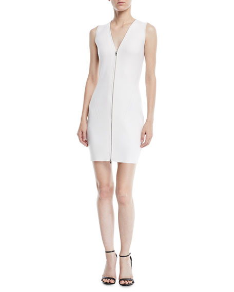 Vivienne Rib-Knit Zip-Up Sweater Dress