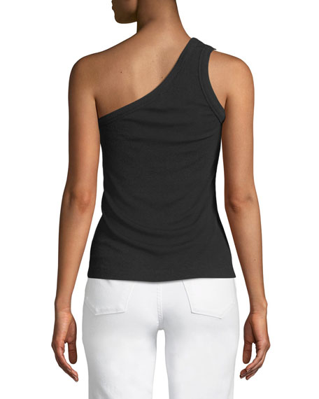 Ribbed One-Shoulder Tank Top