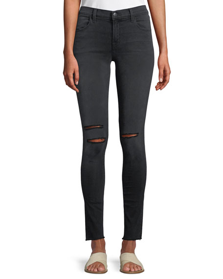 620 Mid-Rise Super Skinny Jeans with Ripped Knees
