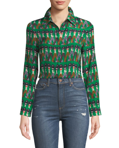 Willa Large-Collar StaceFace Printed Silk Top