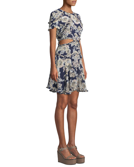 Brianna Floral-Print Cutout Mini Dress