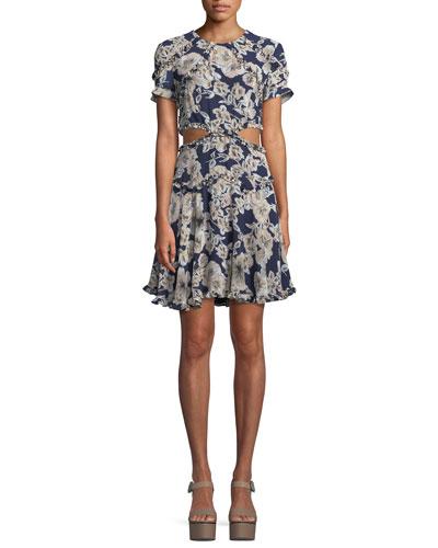 Brianna Floral-Print Cutout Mini Dress