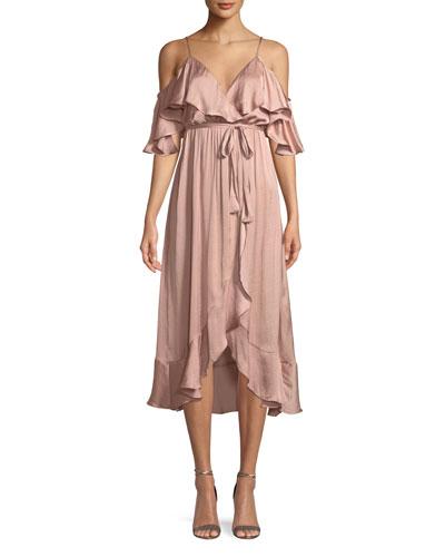 Bea Cold-Shoulder Ruffle Wrap Dress