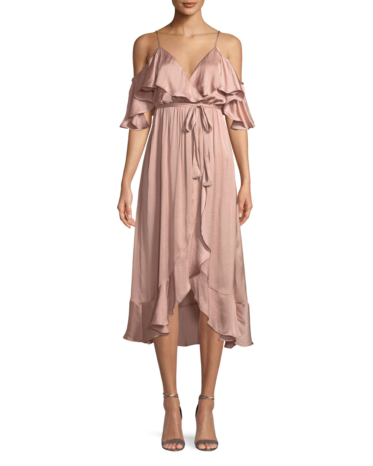 Bardot Bea Cold Shoulder Ruffle Wrap Dress Neiman Marcus