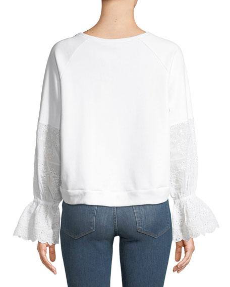 Penelope Eyelet-Sleeve Pullover Top