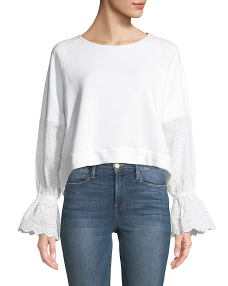 Generation Love Penelope Eyelet-Sleeve Pullover Top