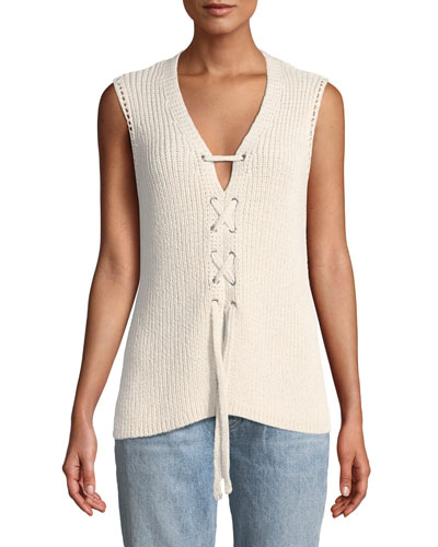 Kristy Lace-Up Sleeveless Sweater