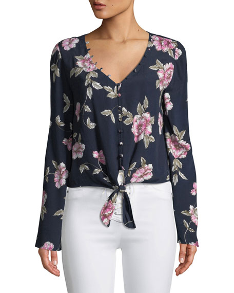Jerome Floral Button-Front Top, Navy
