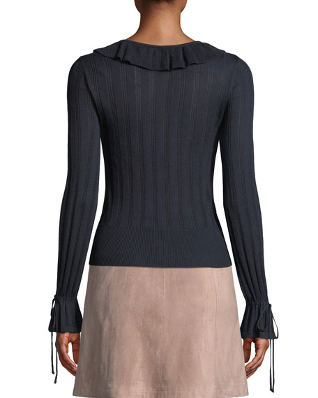 Koren Ribbed Ruffle Long-Sleeve Sweater