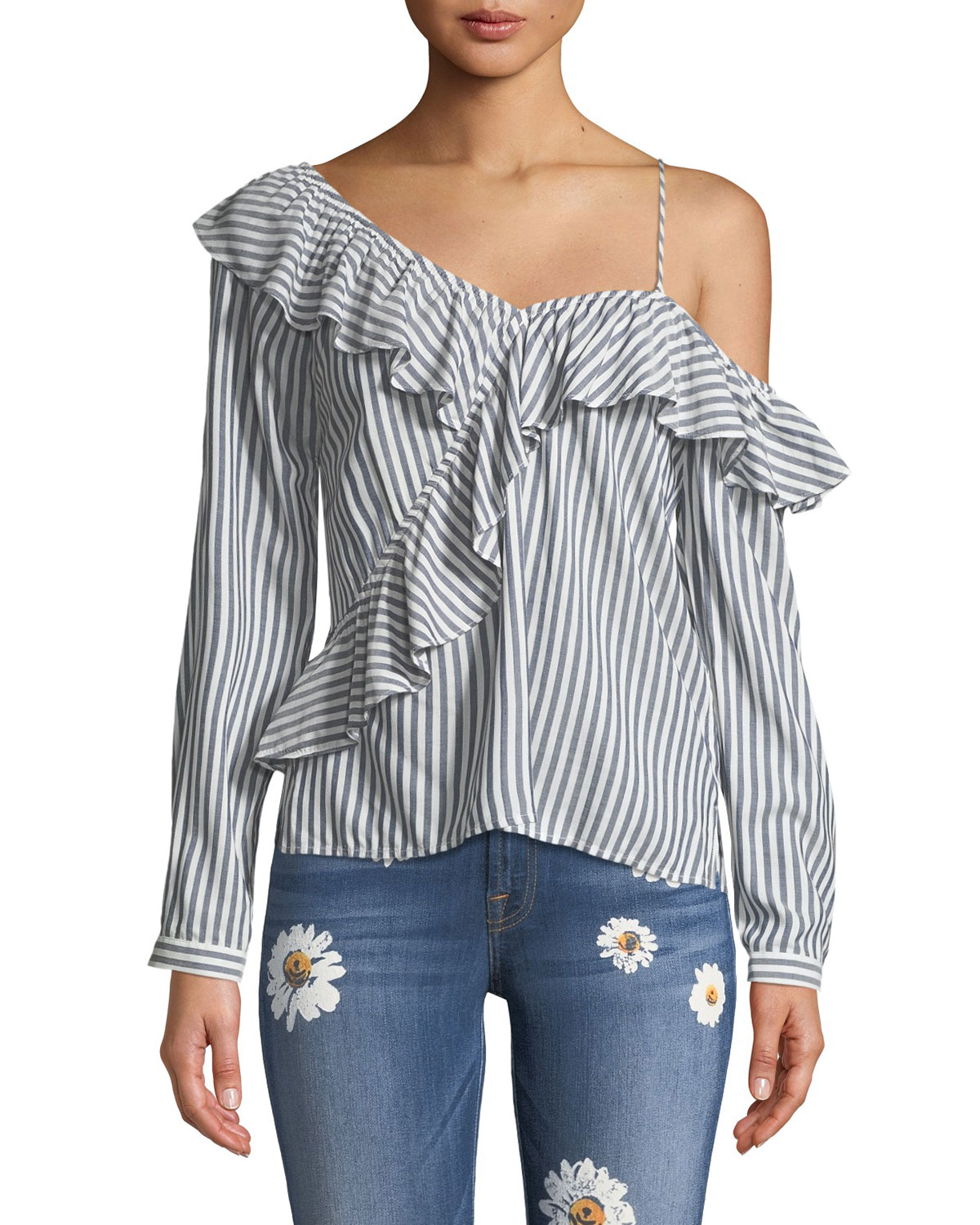 3661291eec Cupcakes and Cashmere Jessilyn Striped Ruffle One-Shoulder Top ...