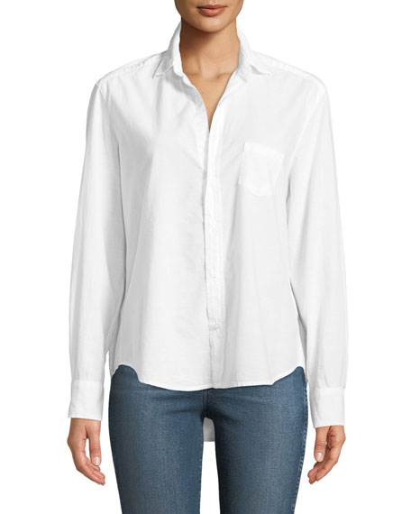 Eileen Button-Front Long-Sleeve Poplin Shirt