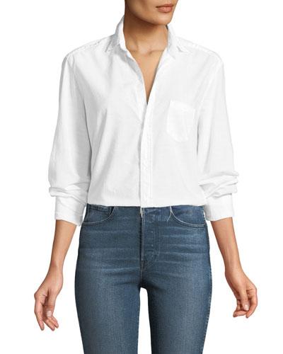 Eileen Button-Front Long-Sleeve Poplin Shirt