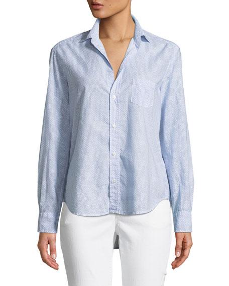 Eileen Micro-Print Cotton Button-Front Shirt