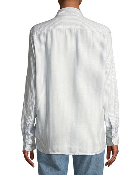 Eileen Striped Modal Long-Sleeve Button-Front Shirt
