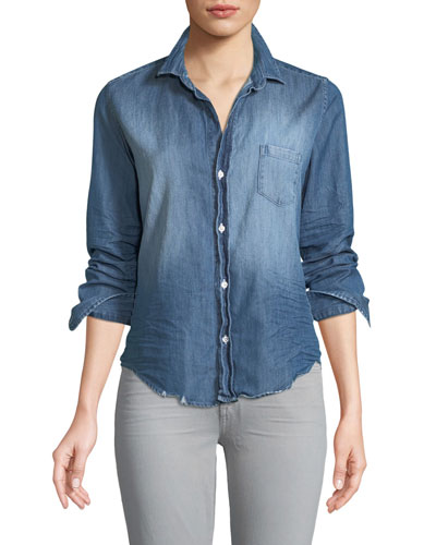 Barry Long-Sleeve Button-Front Denim Shirt