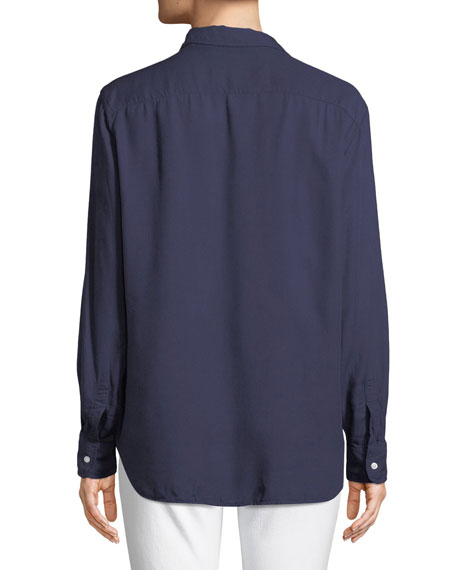 Eileen Long-Sleeve Button-Front Modal Pocket Shirt