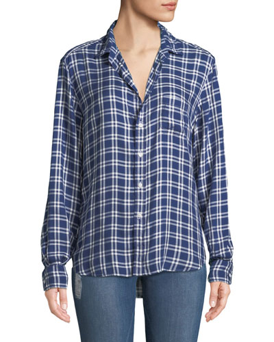 Eileen Check-Print Modal Button-Front Pocket Shirt