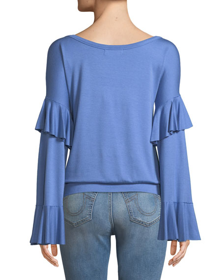 Valedictorian Long-Sleeve Ruffle Top