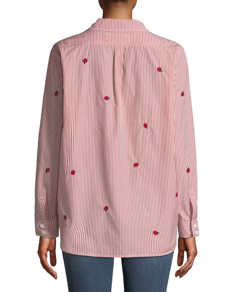 The Campus Striped Long-Sleeve Poplin Top w/ Apple Embroidery