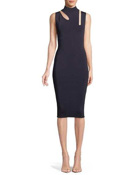 Debate Cutout Mock-Neck Midi Dress