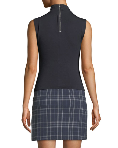 Doctoral Turtleneck Plaid Combo Mini Dress