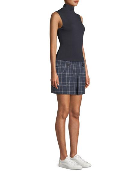 Doctoral Turtleneck Plaid Combo Mini Dress