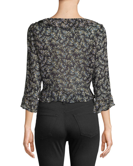 Extracurricular Floral-Print Ruffle Top