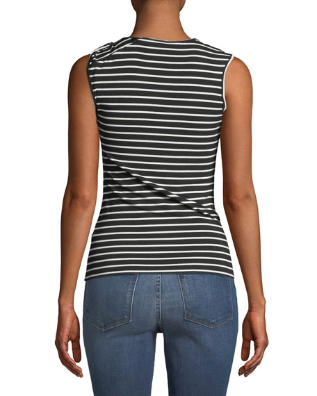 Striped Knot-Shoulder Tank
