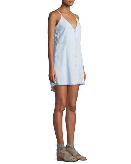 Minetta Button-Front Slip Tank Dress