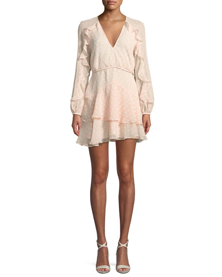 Love Token Dot-Print Ruffle Mini Dress