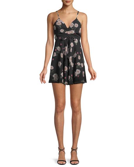 Heaven Sent Ruched Floral Mini Dress