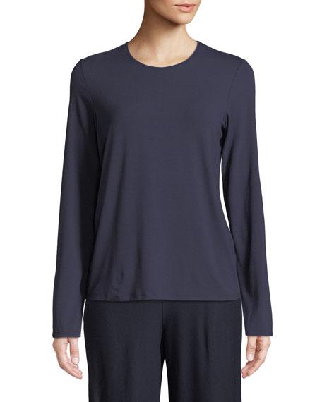 Eileen Fisher Long-Sleeve Crewneck Tee, Plus Size