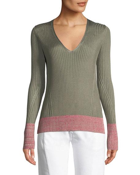 Rag & Bone Alyssa V-Neck Long-Sleeve Ribbed Sweater