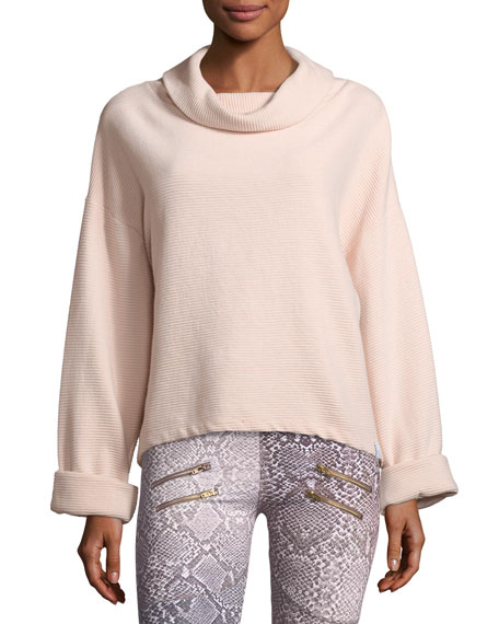 Whittier Cowl-Neck Rib-Knit Sweatshirt