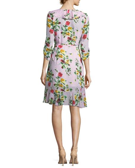Audrey Rose-Print Georgette Wrap Dress