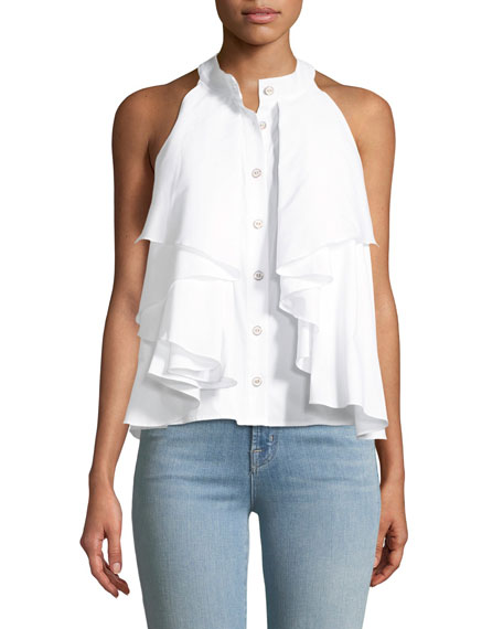 Caroline Constas Adrie Button-Front Sleeveless Ruffled Poplin