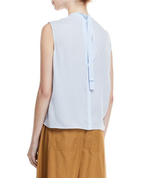 Self-Tie Sleeveless Silk Blouse