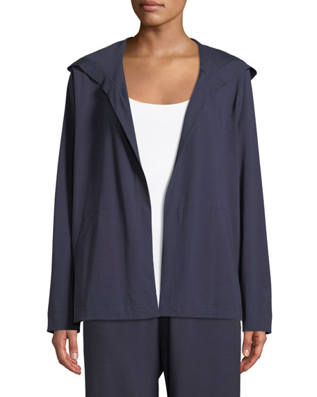 Organic Cotton Jersey Hooded Cardigan, Petite