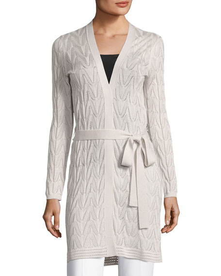 M Missoni Long Wool-Blend Open Cardigan w/ Tie