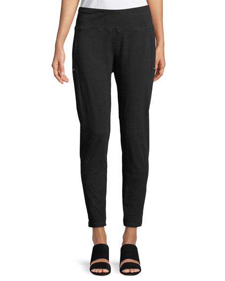 Skinny Slub Jersey Zipper Pants, Petite