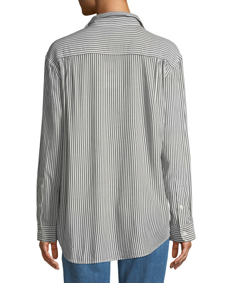 Striped Long-Sleeve Button-Front Shirt