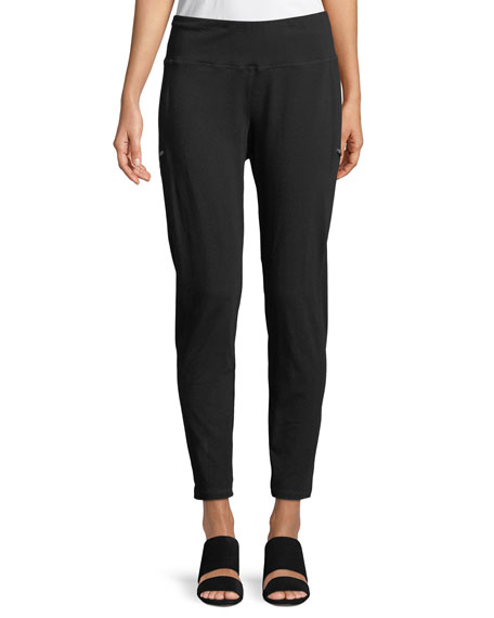 Eileen Fisher Skinny Slub Jersey Zipper Pants, Plus